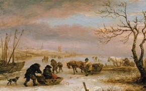 Картинка картина, Исаак ван Остаде, Isaac van Ostade, Зимний Пейзаж с Лодкой Вмерзшей в Лед