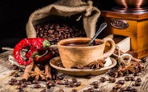 Обои корица, специи, зерна, hot, coffee, beans, кофе, чашка, cup, перец