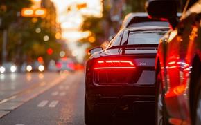 Обои спорткар, Audi, авто, боке, огни, город, стопсигнал, тачка, Audi R8