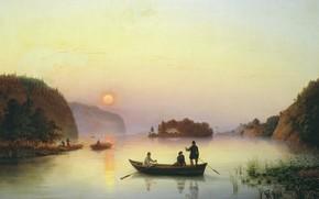 Обои холст, картина, лодка, масло, Переправа Н.В.Гоголя через Днепр, Антон Иванов, река, пейзаж