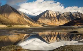Обои облака, небо, tibet, mountains, озеро, Тибет, reflection, lake, clouds, the sky, горы, отражение