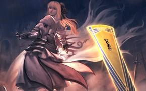 Картинка девушка, ночь, аниме, воин, арт, сейбер, Fate / Grand Order