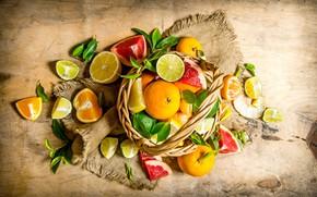 Картинка листья, корзина, апельсины, лайм, кусочки, фрукты, цитрусы, лимоны, дольки, грейпфруты