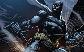 Картинка Ночь, Бэтмен, Костюм, Пояс, Герой, Маска, Комикс, Плащ, Супергерой, Hero, Batman, Night, Брюс Уэйн, DC ...