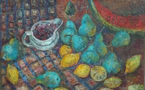 Картинка ягоды, лимон, Светлана Нестерова, кусок арбуза, Голубые груши