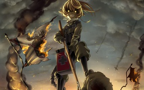 "Картинка Tanya Degurechaff, Tanya ""Devil of the Rhine"" Degurechaff, manga, uniform, fire, 2017, rifle, soldier, blonde, ..."
