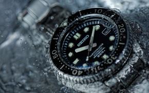 Обои часы, Seiko, вода, макро, стиль