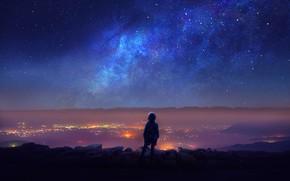Обои Человек, Огни, Небо, Космос, Звезды, Synth, Ночь, Город, Синти, Девушка