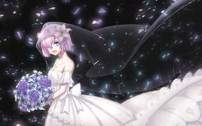 Картинка ночь, букет, шлейф, декольте, бант, невеста, белое платье, фата, Mash Kyrielight, Fate / Grand Order, …