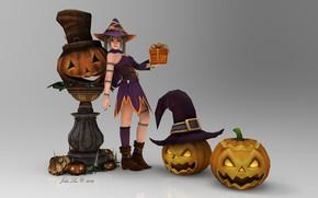 Картинка девушка, аниме, тыква, хеллоуин, 3д графика