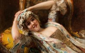 Картинка девушка, кокетка, Константин Маковский