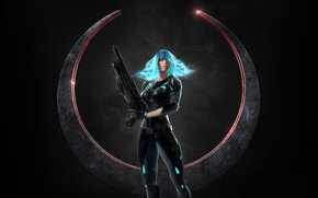 Картинка gun, weapon, shotgun, suit, uniform, Nyx, Quake: Champions