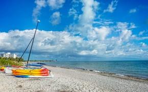 Картинка песок, море, пляж, небо, солнце, облака, побережье, лодки, Флорида, горизонт, США