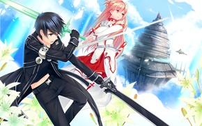 Картинка аниме, арт, Мастера меча онлайн, Sword Art Online, Асуна, Кирито