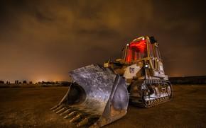Картинка ночь, фон, трактор