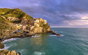 Обои Лигурийское море, Italy, Чинкве-Терре, скалы, пейзаж, Cinque Terre, Манарола, Ligurian Sea, море, Manarola, побережье, Италия