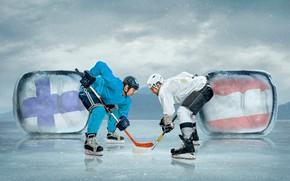 Картинка спорт, лёд, перчатки, хоккей, униформа, мужчины, коньки, шлемы, хоккеисты, клюшки
