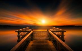 Картинка море, пейзаж, закат, пристань