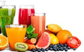Картинка лимон, апельсины, киви, черника, ягода, белый фон, стаканы, фрукты, банан, овощи, помидор, морковь, соки