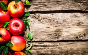 Картинка листья, фон, яблоки, доски, красные