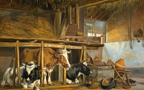 Обои Коровы в Хлеву, Jan van Ravenswaay, масло, холст, картина, животные