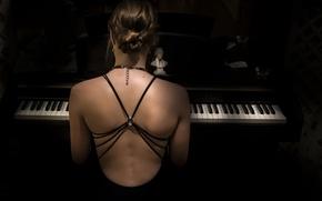 Обои девушка, музыка, пианино