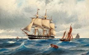 Картинка Корабли, Fregatten Vanadis i Nordsjön, Jacob Hägg, Marinmåleri