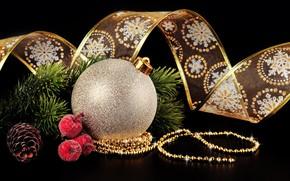 Картинка ветки, шар, шарик, Рождество, лента, Новый год, бусы, шишка, тёмный фон
