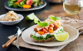 Картинка еда, рыба, лайм, бутерброд, помидоры-черри, сыр фета