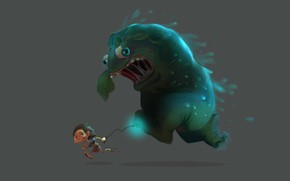 Обои run!, Glenn Melenhorst, 2D and 3D, ситуация, арт, парень, монстр