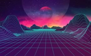 Обои Synthpop, Synth, Retrowave, Синти-поп, JohnLeePee, Музыка, Electronic, Darkwave, Звезды, Космос, Горы, Synth pop, Synthwave, Неон, ...