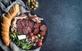 Картинка bacon, колбаса, хлеб, бекон, cheese, тарелка, served, olives, ham, bread, sausage, meat, оливки