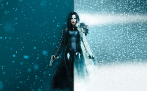 Картинка cinema, Kate Beckinsale, gun, pistol, Underworld, armor, weapon, snow, movie, wolf, vampire, brunette, film, Selene, …