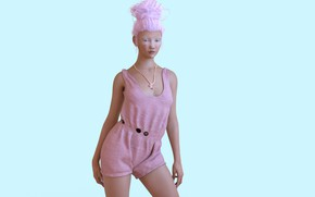 Картинка девушка, комбинезон, розовые волосы