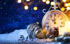 Картинка снег, часы, Новый Год, Рождество, new year, happy, fireworks, 2017