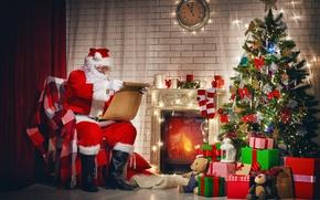 Обои Рождество, santa claus, gifts, merry christmas, christmas tree, Новый Год, decoration