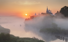 Картинка лето, солнце, туман, река, утро, Россия