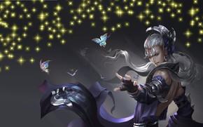 Картинка бабочки, магия, игра, аниме, арт, парень