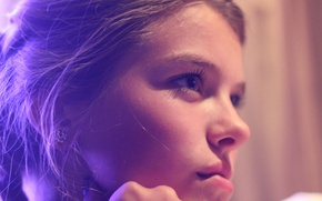 Картинка глаза, взгляд, девушка, лицо, ресницы, нос, губы, Фиолетовый