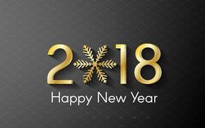 Картинка Новый Год, золотой, happy, снежинка, 2018, New Year