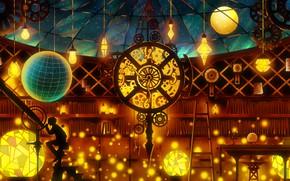 Обои телескоп, интерьер, by Harada Miyuki, ночное небо, парень