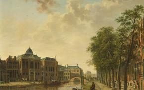 Картинка дерево, масло, картина, городской пейзаж, Хендрик Кеун, Вид на Рынок Лесоматериалов в Амстердаме