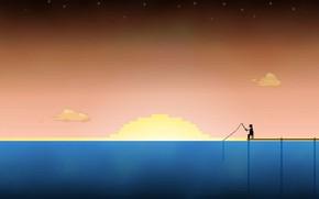 Картинка Солнце, Море, Графика, Пиксели, 8bit, 8бит, Рыбалка, Рыбак, PXL