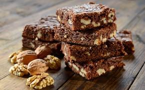 Картинка шоколад, пирожное, chocolate, грецкие орехи, nutty