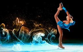 Обои лёд, синее, черный фон, коньки, фигурное катание, наряд, след, блондинка, фигуристка, поза, перчатки, платье, девушка, ...