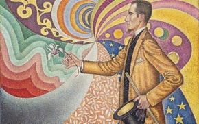 Обои картина, Поль Синьяк, Портрет Феликса Фенеона, пуантилизм