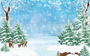 Обои лес, олени, блики, боке, снежинки, деревья, зима, арт, снег, сугробы