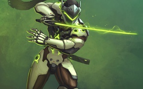 Картинка меч, blizzard, art, ninja, cyborg, overwatch, genji, genji shimada