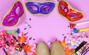 Картинка цветы, стиль, макияж, тени, Маска, карнавал