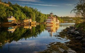 Картинка boats, Norway, sunlight, Vestlandet, canal, Rogaland, Røyksund, Røyksundkanalen, fish boat